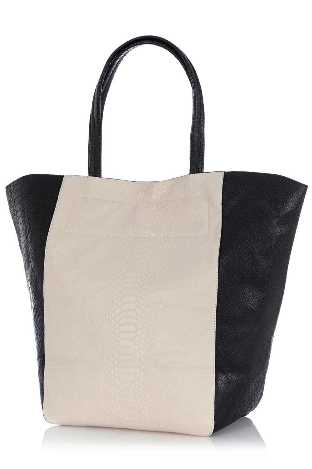 Contrast Croc Shopper Bag