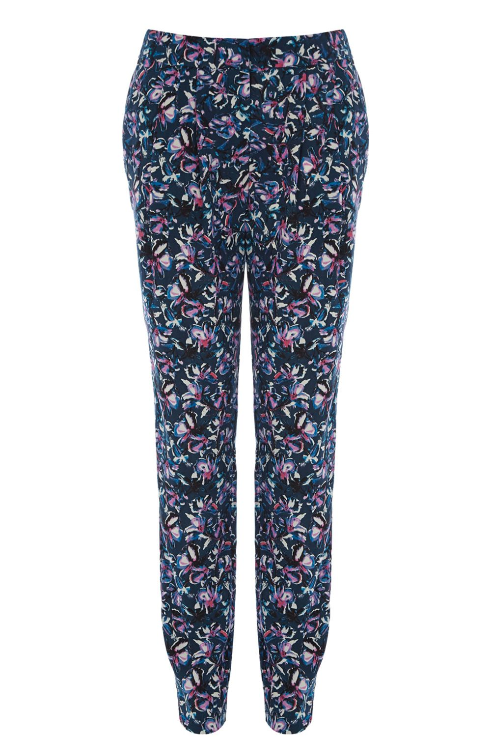 Drawn Floral Soft Peg Trousers