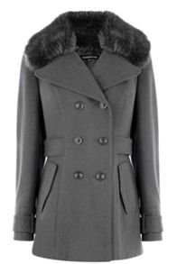 Faux fur collar reefer