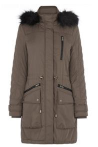 Quilted sleeve fur hooded parka