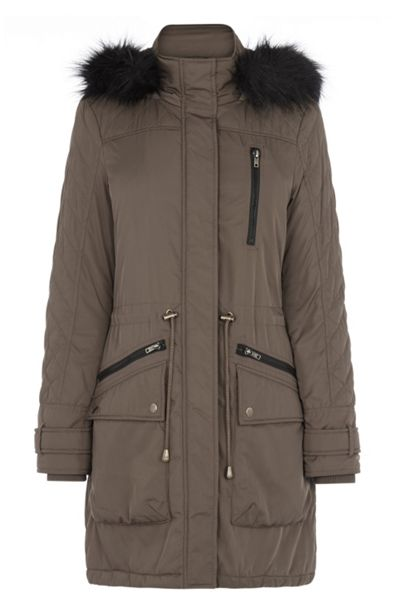 Warehouse Quilted sleeve fur hooded parka