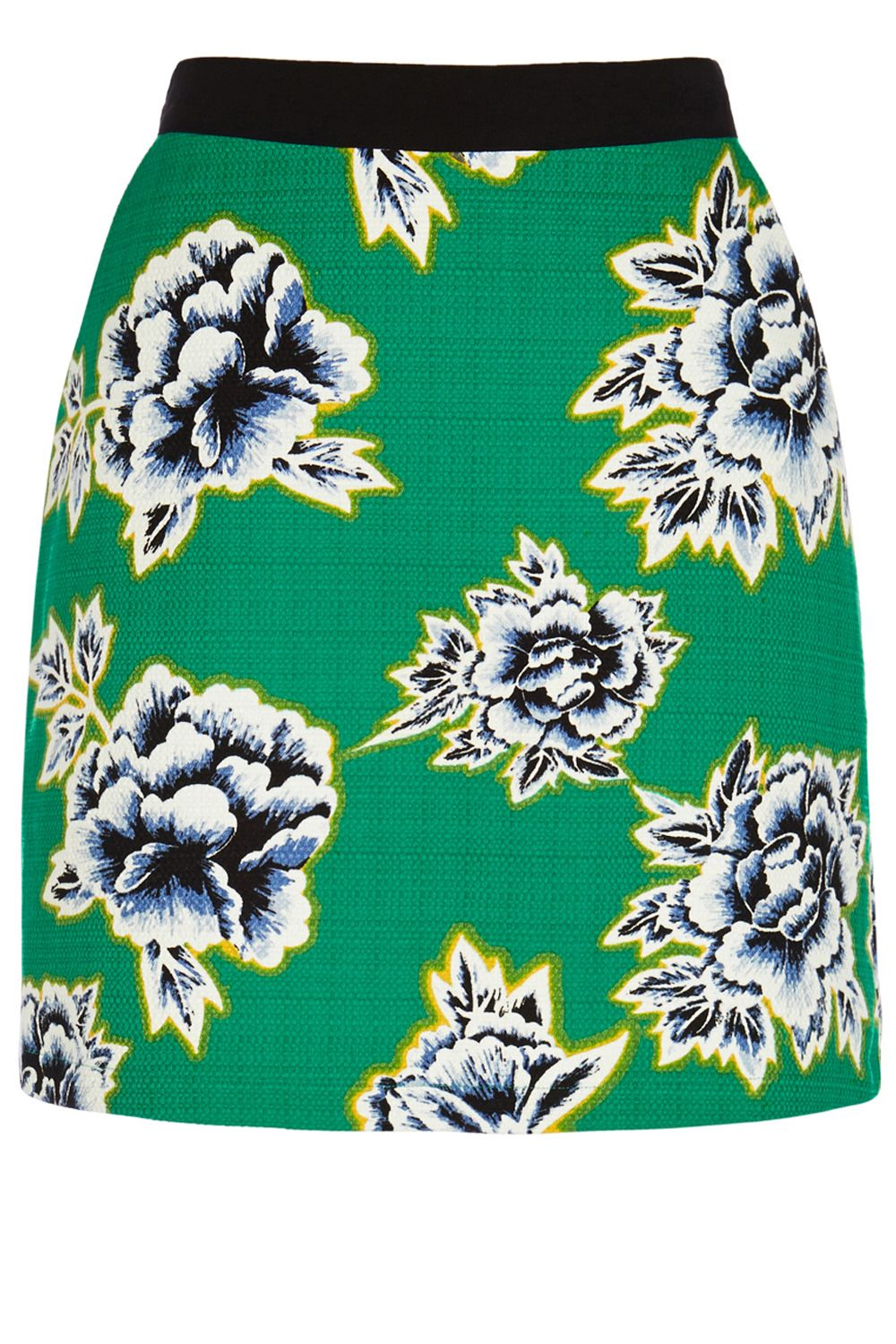 Stencil Floral Textured Cotton Skirt