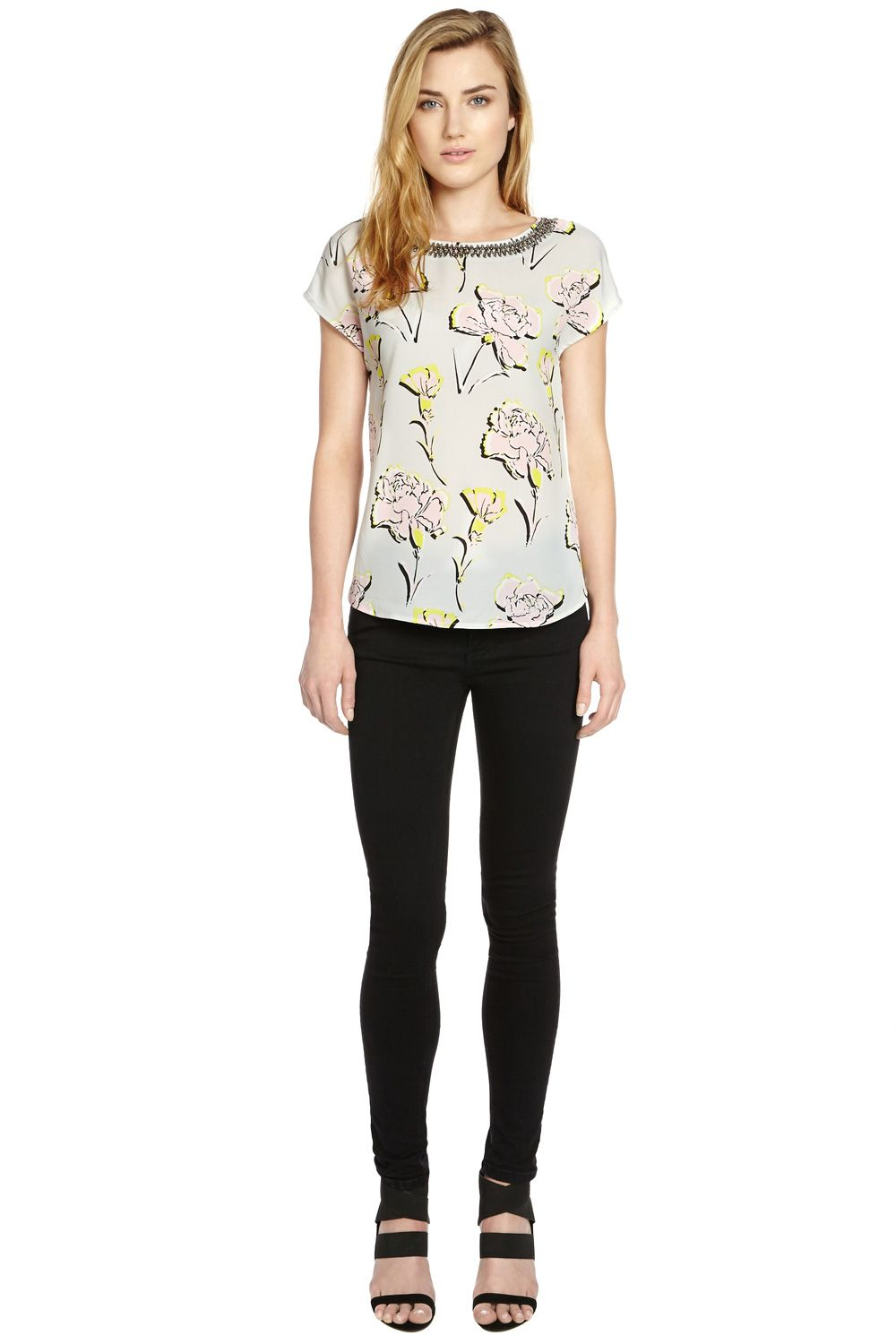 Embellished Neck Flower T-Shirt