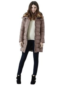 Mock down faux fur collar coat