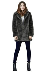 Luxe grey faux fur coat