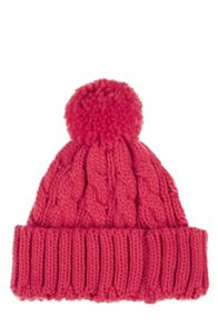 Cable pom-pom hat