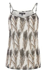 Feather Print Embellished Cami