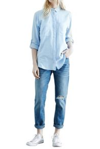 Relaxed curved hem shirt