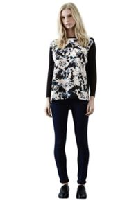 Feather floral woven front top