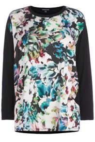 Vibrant Floral Woven Front Top