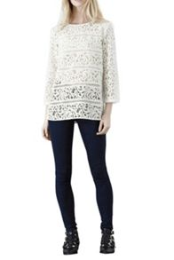 Panelled Lace Long Sleeve Top