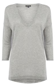 V neck side split jumper