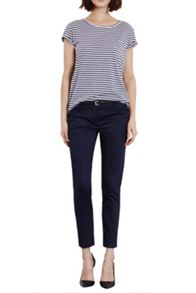 Cotton sateen belted trousers