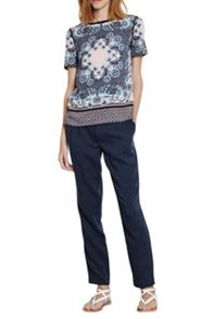 Floral and geo mix t shirt