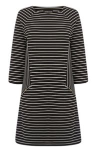 Textured Stripe Shift Dress