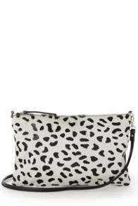 Leather leopard print clutch bag