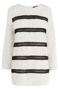 Stripe lace panel top