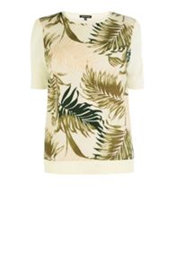 Palm woven front t shirt
