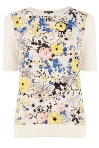 Pretty Floral Woven Front Tee