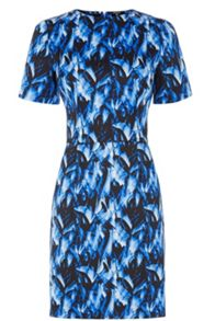 Feather Print Satin Shift