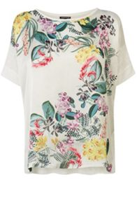 Botanical print woven front top