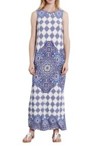 Placement tile maxi dress