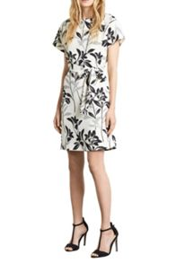 Mono Floral Belted Dress