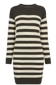 Button Shoulder Stripe Dress