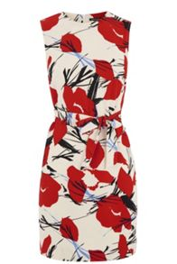 Abstract Poppy Belted Dress