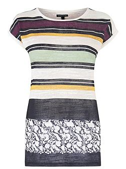 Warehouse Stripe And Floral Linen Look Top