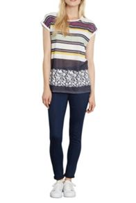 Stripe And Floral Linen Look Top