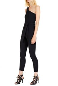 BELTED ONE SHOULDER JUMPSUIT