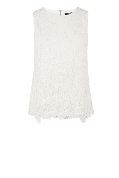 Warehouse Pretty Leaf Lace Shell Top