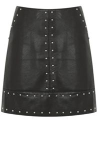 Faux Leather Studded Skirt