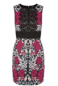 Printed Lace Panel Shift Dress