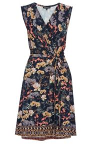 Border Floral Wrap Dress
