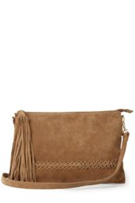 Suede Plaited Cross-Body Bag