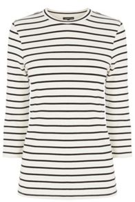 Stripe Crw Neck 3/4 Sleeve Top