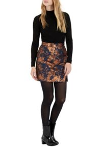 Wrap Front Jacquard Skirt