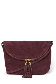 Suede Zip Round Cross-Body Bag