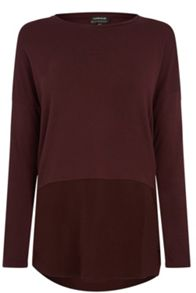 Woven Mix Long Sleeved Top
