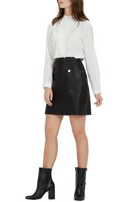 Warehouse Popper Faux Leather Skirt