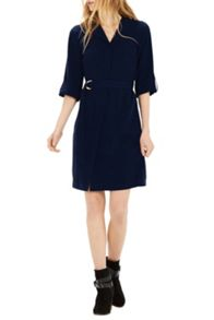 Warehouse Asymmetric Belted Dress