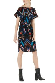 Warehouse Chevron Stripe Belted Dress