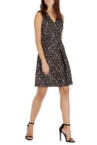 Bonded Fit And Flare Dress