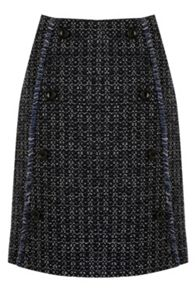 Warehouse Button Front Tweed Skirt