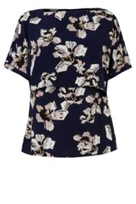 Warehouse Floral Print Cape Back  Top