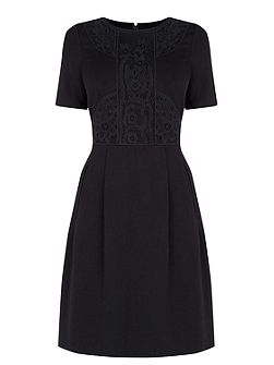 Warehouse Lace Detail Ponte Shift Dress
