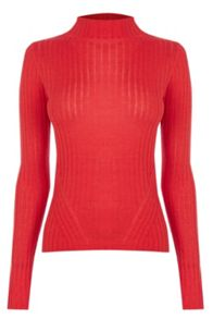 Warehouse High Neck Rib Top