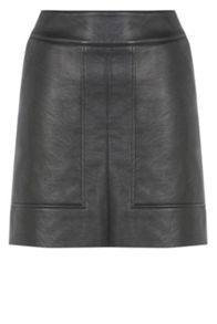 Panelled Faux Leather Skirt